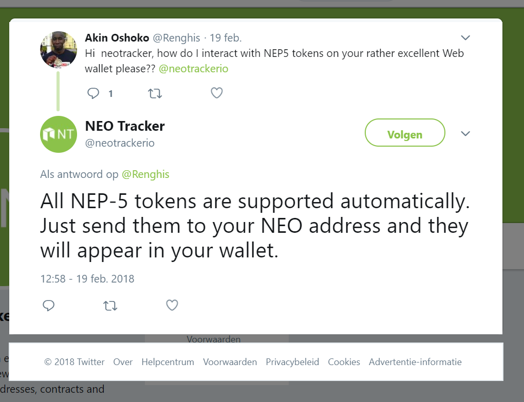 NEP-5 tokens are supported automatically
