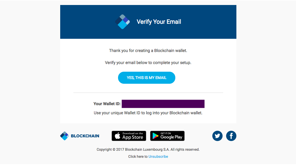 The Blockchain wallet will send you the verifying e-mail