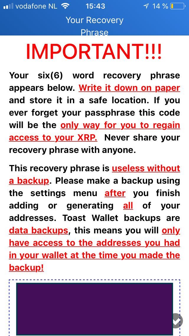 This is how recovery code looks like in the case of Toast Wallet