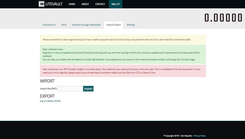 Litevault wallet import page
