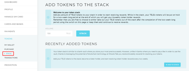 stake your TELE tokens