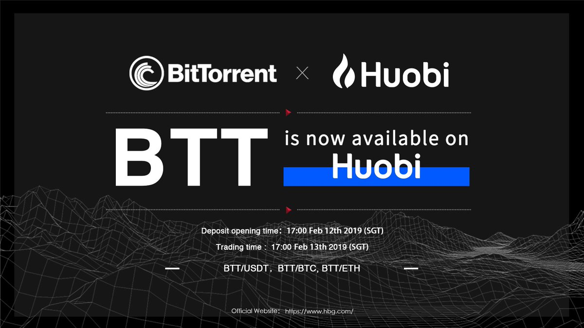 Bittorrent trading competition on Huobi