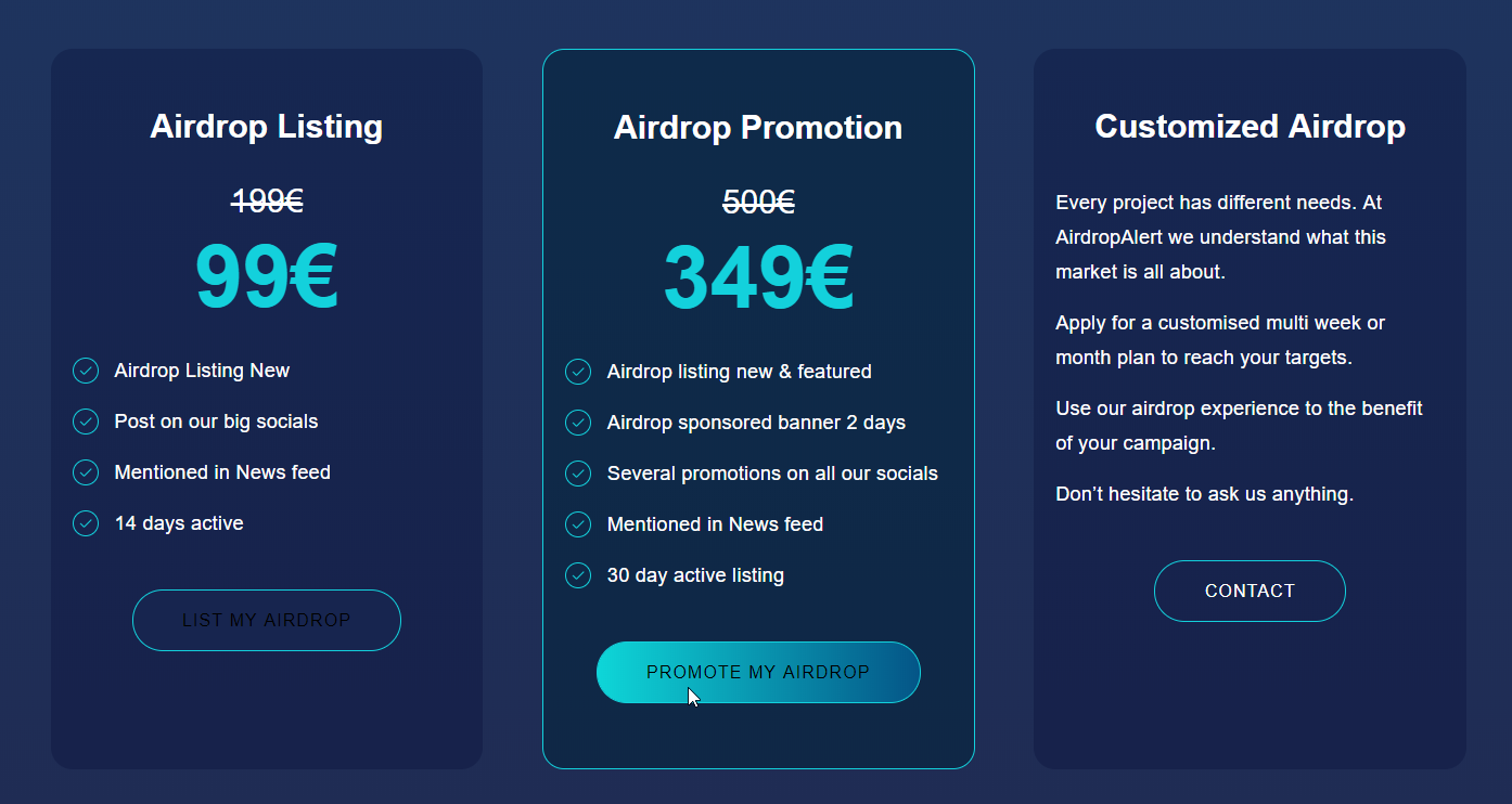 Airdrop listing