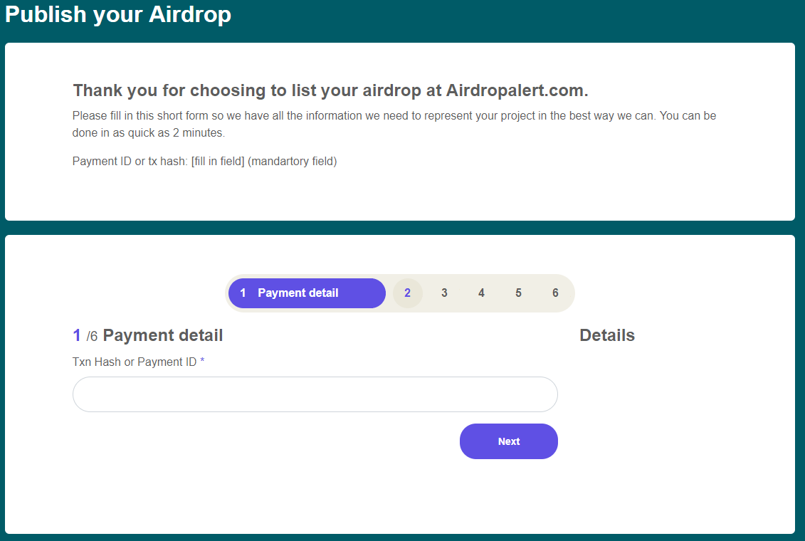 Airdrop listing form