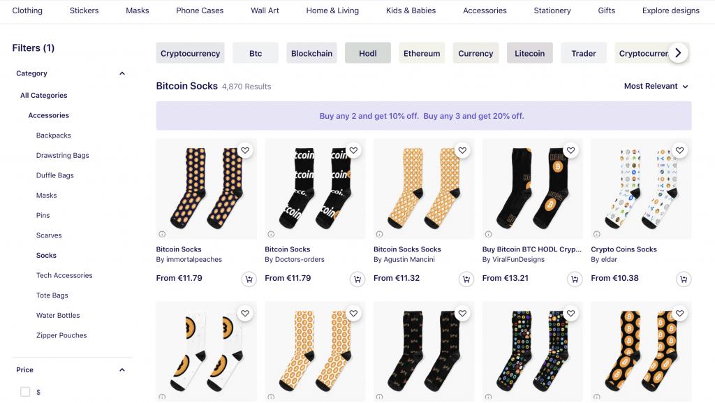 crypto gifts bitcoin socks