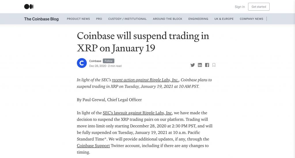 XRP Coinbase